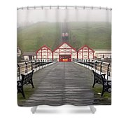 Misty View Of Victorian Pier  Redcar Shower Curtain