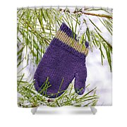 Mitten In Snowy Pine Tree Shower Curtain