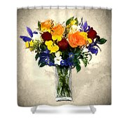 Mixed Bouquet Of Tropical Colored Flowers On Textured Vignette Oil Painting Shower Curtain