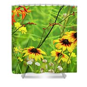 Mixed Flowers Bloom In A Garden Shower Curtain