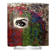 Mixed Media Abstract Post Modern Art By Alfredo Garcia Eye See You 2 Shower Curtain