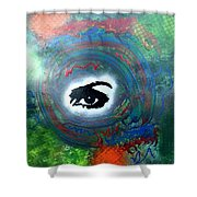Mixed Media Abstract Post Modern Art By Alfredo Garcia Eye See You Shower Curtain