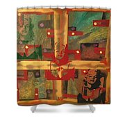 Mixed Media Abstract Post Modern Art By Alfredo Garcia The Blond Bombshell 3 Shower Curtain