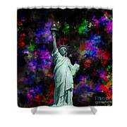 Mixed Media Statue Of Liberty Shower Curtain
