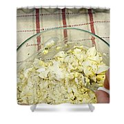Mixing Egg Salad Ingredients Shower Curtain