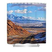 Moab Fault Medium Panorama Shower Curtain by Adam Jewell