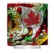 Mosaic  Stained Glass - Canadian Maple Leaf Shower Curtain