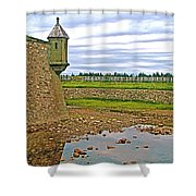 Moat And Wall Around Fortress In Louisbourg Living History Museum-ns Shower Curtain