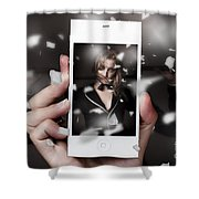Mobile Phone Capturing A Broadway Cabaret Show Shower Curtain