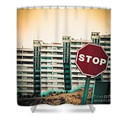 Mobile Photography Toned Stop Sign And Condo Units Shower Curtain