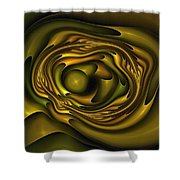 Mobius Field Generator Fractal Olive Shower Curtain