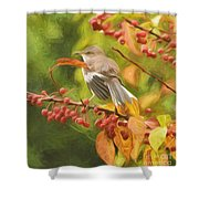 Mockingbird And Berries Shower Curtain