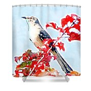 Mockingbird In The Leaves - Watercolor Shower Curtain