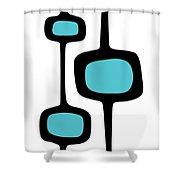Mod Pod Three Black On White Shower Curtain