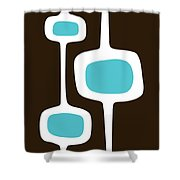 Mod Pod Three White On Brown Shower Curtain