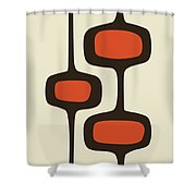 Mod Pod Two Orange With Brown Shower Curtain