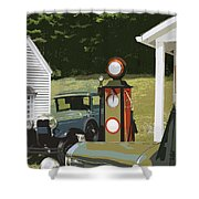 Model A Ford And Old Gas Station Illustration  Shower Curtain