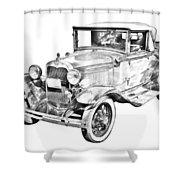 Model A Ford Roadster Antique Car Illustration Shower Curtain