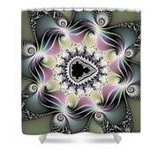 Modern Abstract Fractal Art Metallic Colors Square Format Shower Curtain