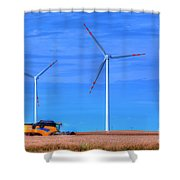 Modern Agriculture And Wind Turbines Shower Curtain