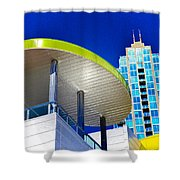 Modern Architecture With Blue Sky Shower Curtain