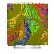 Modern Art Abstract Fractal Green Background Shower Curtain