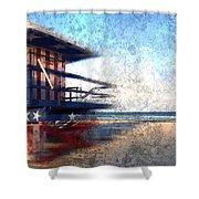 Modern-art Miami Beach Watchtower Shower Curtain