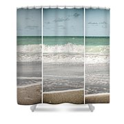 Modern Beach Tryptych Shower Curtain