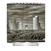Modern Buenos Aires Black And White Shower Curtain