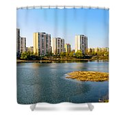 Modern Buildings Close To The Pond Shower Curtain