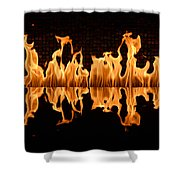 Modern Fireplace Fire Reflected In Water Feature No.5 Shower Curtain