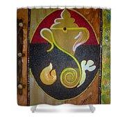 Mixed Media Ganesha Shower Curtain