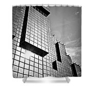 Modern Glass Building Shower Curtain