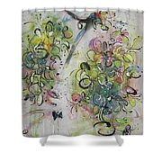 Modern Spring Blossom Art Painting Flower Butterfly Art Acrylic Ink Rice Paper Green Yellow Pink Sjk Shower Curtain