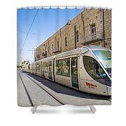 Modern Tram In Jerusalem Israel Shower Curtain