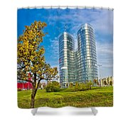 Modern Twin Tower In City Of Zagreb Shower Curtain