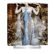 Modern Vintage Lady In Blue Shower Curtain