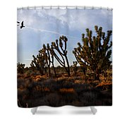 Mojave Desert Joshua Tree With Ravens Shower Curtain
