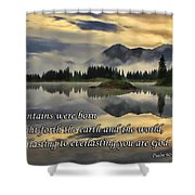 Molas Lake Sunrise With Scripture Shower Curtain