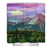 Molas Pass Sunset Panorama Shower Curtain