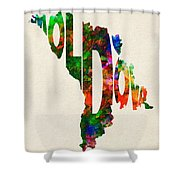 Moldova Typographic Watercolor Map Shower Curtain