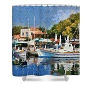 Molyvos Port Shower Curtain