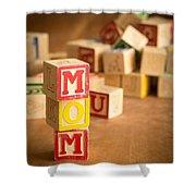 Mom Alphabet Blocks Shower Curtain