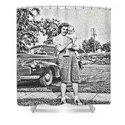 Mom Child And Car Shower Curtain
