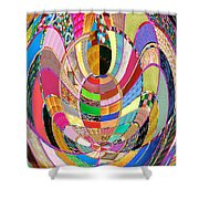 Mom Hugs Baby Crystal Stone Collage Layered In Small And Medium Sizes Variety Of Shades And Tones Fr Shower Curtain