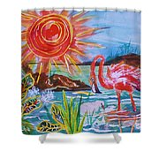 Momma And Baby Flamingo Chillin In A Blue Lagoon  Shower Curtain