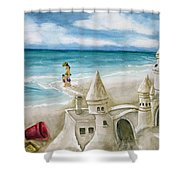 Mommy And Me Sandcastles Shower Curtain