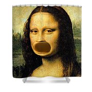 Mona Lisa At The Dentists Office    Open Wide Shower Curtain
