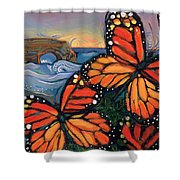 Monarch Butterflies At Natural Bridges Shower Curtain by Jen Norton