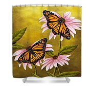 Monarchs And Coneflower Shower Curtain